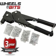 HEAVY DUTY SWIVEL HEAD HAND RIVETER WITH 75 RIVETS AND 4 NOZZLES - POP RIVET GUN