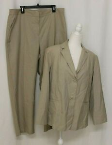 WOMAN TAN COLLARED BLAZER & PANT CALVIN KLEIN SUIT SIZE 16W JACKET 18W PANTS