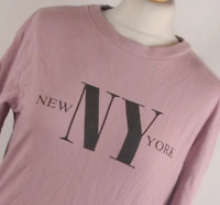 New York Pink Graphic Cotton Womens Basic Tee Size S (Regular)