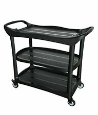 Utility Cart, Multi-Purpose 3 Shelf Cart with Wheels, Black (Large)