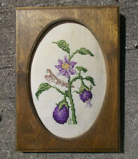 Praying Mantis and Eggplant Completed Counted Cross Stitch Picture Framed Plaque