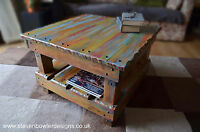 Rustic Reclaimed Wood Coffee Table Boatwood Style with Under Shelf Storage