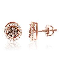 Brown White Diamond 7mm Flower Cluster Studs Earrings 10k Rose Gold 0.25Ct -IGI-