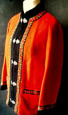 A.S. EVEBOFOSS VINTAGE NORWAY Scandinavian EMBROIDERED RED PURE WOOL JACKET 44