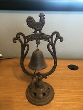 Large Vintage Rustic Wrought cast-iron rooster dinner Door bell Welcome Studded