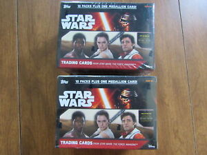 2015 STAR WARS FORCE AWAKENS 10 PACK + 1 MEDALLION CARD BOX LOT OF 2 Y2-1906