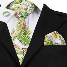 Classic Green Floral Silk Tie Mens Printing Necktie Wedding Formal Sets LS-1235