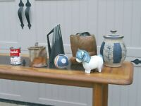 mid-century modern ART POTTERY jars, vases and a bank
