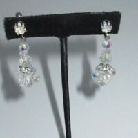 Dangle Earrings Clip On Aurora Borealis Rhinestone Crystal Silver SHINY Bin8