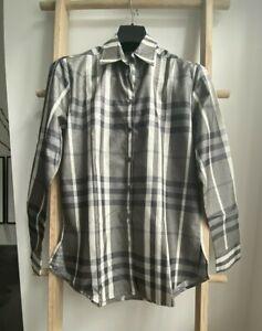 100% BNWT Authentic Burberry Women's Metallic Checked Shirt Long Sleeve M