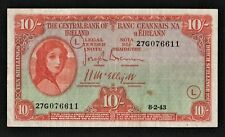 IRELAND 1943 WAR CODE (L) 10/ SHILLING  LADY LAVERY BANKNOTE