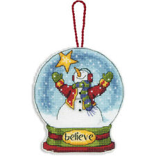 "Dimensions Counted Cross Stitch Kit 3.75""X4.5""Believe Snowglobe (14 Count)"