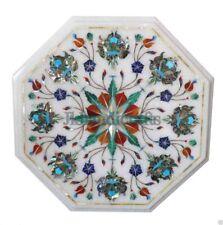 "12"" Marble Tea Coffee Corner Table Top Malachite Floral Inlaid Art Homedecor"