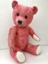 Antique Old Chiltern Pink Mohair Musical Teddy Bear Hugmee British Music Box