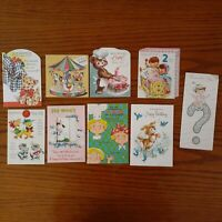 9pc Mixed Lot Vintage Birthday Cards USED Animal Dog Young Child Arts Crafts
