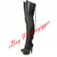 sexy women real leather thigh high boots Gladiator Stiletto Over knee high boots