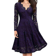 Women V-Neck Off Shoulder Lace Formal Evening Party Dress Long Sleeve Dress ZH