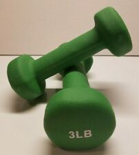 3 lb Cap Neoprene Hex Dumbbell Workout Weights Pair of 2 Green 3lb Weight