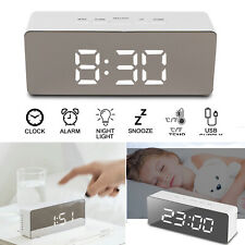 Alarm Clock Digital LED Display Portable Modern Battery Mirror USB Night Light