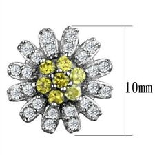 TSAO 925 STERLING SILVER RHODIUM PLATED YELLOW TOPAZ EARRING