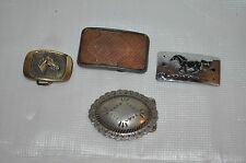 4 WESTERN BELT BUCKLE  HORSE 1983  - SILVER CONCH - REPTILE - CHAMBERS HORSE