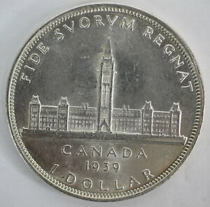 CANADA 1939 .800 SILVER KING GEORGE VI DOLLAR COIN - B