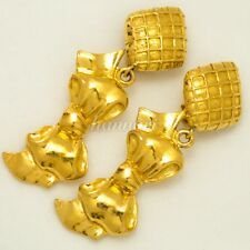 AUTHENTIC CHANEL RIBBON GOLD TONE EARRINGS CLIP-ON LARGE BIG LONG e20