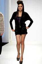 BETSEY JOHNSON Runway Purple Velvet Pockets Lace Hooded Hoodie Shorts Romper S