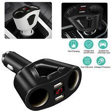 DC 12V Dual USB Car Charger LCD Cigarette Lighter Socket Splitter Power Adapter