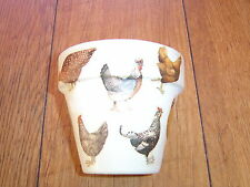 Hand Painted+Decoupaged Flower Pots 11cm(Terracotta) Emma Bridgewater Chickens 4