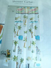 """CHILDS COLORFUL SAFARI ANIMALS  FABRIC SHOWER CURTAIN WITH HOOKS,  70"""" W X 72"""" L"""