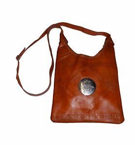 Genuine Leather Handbag Purse Moroccan Women Shoulder Bag Tooled Leather Brown