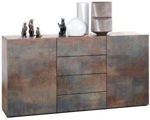 Sideboard Kommode Anrichte Highboard Schrank Massa in Stahlfarben antik
