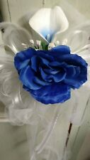 12 Picasso Lilies Royal Blue And White & Royal Roses Tulle Wedding Pew Bows