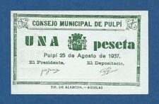 CONSEJO MUNICIPAL DE PULPI -- 1 PESETA ( 1937 ) -- SC // UNC -- SIN SERIE .