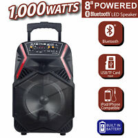 "8"" Professional Party Speaker Bass Led Portable Stereo Light Up Tailgate Loud"