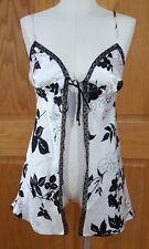 Victoria's Secret Women's Silky Black White Floral Camisole Lingerie Top Size XS