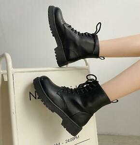 Women Bootie Combat Martin Boots Leather Casual Travel Lace Up Increase Shoes