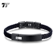 TT Black Leather 316L Stainless Steel Clip Bracelet Wristband With CZ BR278 NEW