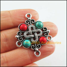 3 New Chinese Knot Charm Tibetan Silver Tone Colored Turquoise Connector 30x37mm