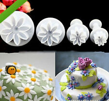 4X Cake Fondant Sugarcraft Decor Cookie Mould Mold Plunger Daisy Flower Cutter