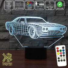 FORD MUSTANG STREET CAR LOGO 3D LED BATTERY USB NIGHT LIGHT 7 COLOUR'S + REMOTE