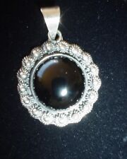 Vintage Taxco Mexico / Mexican Sterling and Onyx Cabochon Pendant Hallmarked