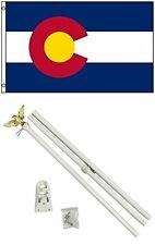 2x3 2'x3' State of Colorado Flag White Pole Kit Set