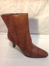 Ladies Brown Ankle Leather Boots Size 6