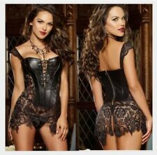 PVC Dress Black PVC Leather Corset with Lace skirt Clubwear partywear, wet look