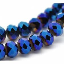 1 STRAND DARK BLUE CRYSTAL FACETED RONDELLE BEADS ~6mm~ APPROX 100 BEADS  (80C)