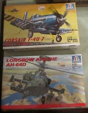 Coppia Modelli Italeri 1:72 Corsair F-4u 7 & Longbow Apache Ah-64D 048 080