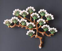 Vtg Style Japanese Tree Pin brooch in enamel on gold tone metal w/faux pearl