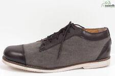 soulland Cuero Negro/ Gris Lona Con Cordones Zapatos de Diario SZ. 9